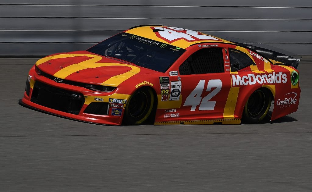 BROOKLYN, MICHIGAN - AUGUST 09: Kyle Larson, driver of the #42 McDonald's Chevrolet, drives during practice for the Monster Energy NASCAR Cup Series Consumers Energy 400 at Michigan International Speedway on August 09, 2019 in Brooklyn, Michigan. (Photo by Stacy Revere/Getty Images) | Getty Images