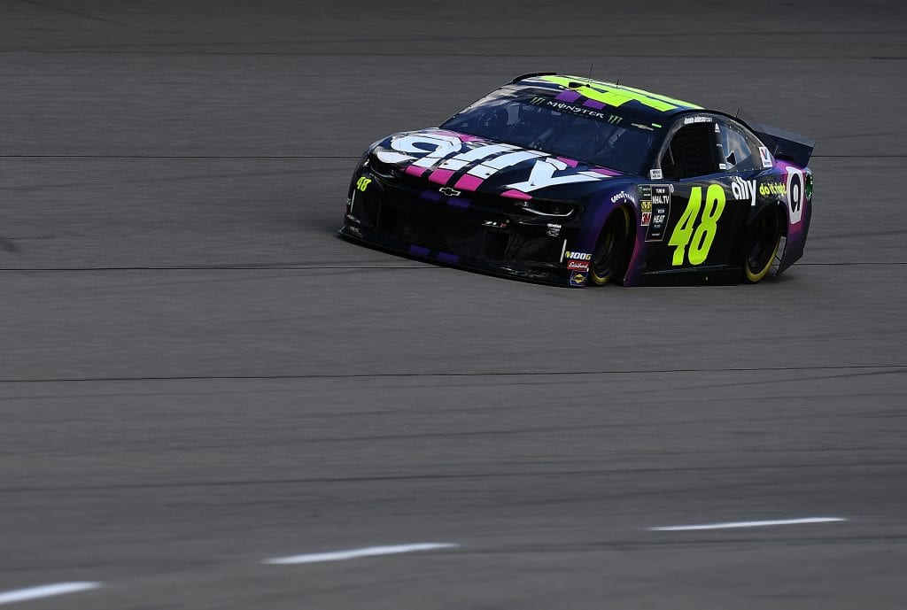 BROOKLYN, MICHIGAN - AUGUST 09: Jimmie Johnson, driver of the #48 Ally ChevroleJimmie Johnson, driver of the #48 Ally Chevrolet, drives during practice for the Monster Energy NASCAR Cup Series Consumers Energy 400 at Michigan International Speedway on August 09, 2019 in Brooklyn, Michigan. (Photo by Stacy Revere/Getty Images) | Getty Images
