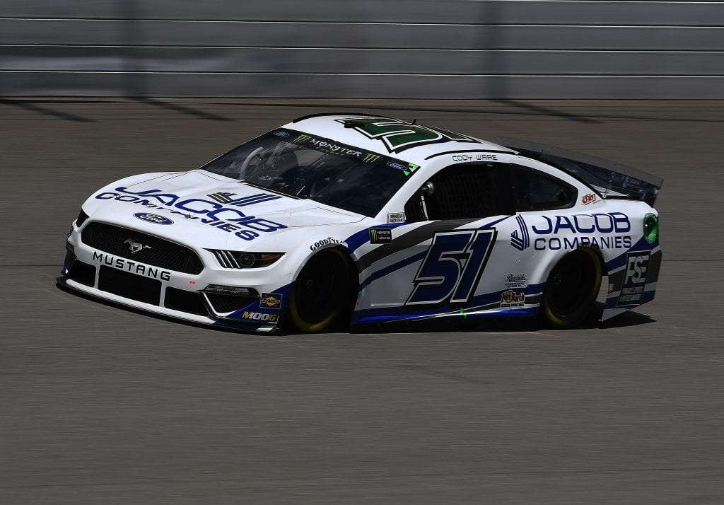 BROOKLYN, MICHIGAN - AUGUST 09: Cody Ware, driver of the #51 JACOB COMPANIES Ford, drives during practice for the Monster Energy NASCAR Cup Series Consumers Energy 400 at Michigan International Speedway on August 09, 2019 in Brooklyn, Michigan. (Photo by Stacy Revere/Getty Images) | Getty Images