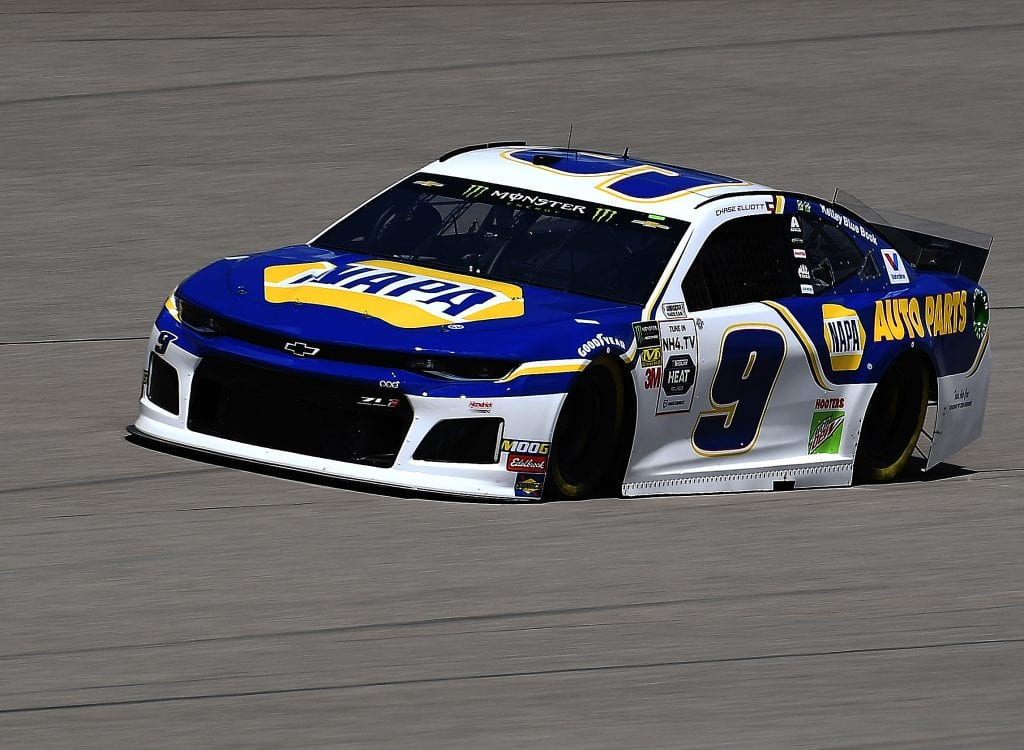 BROOKLYN, MICHIGAN - AUGUST 09: Chase Elliott, driver of the #9 NAPA AUTO PARTS ChevroletChase Elliott, driver of the #9 NAPA AUTO PARTS Chevrolet,drives during practice for the Monster Energy NASCAR Cup Series Consumers Energy 400 at Michigan International Speedway on August 09, 2019 in Brooklyn, Michigan. (Photo by Stacy Revere/Getty Images) | Getty Images