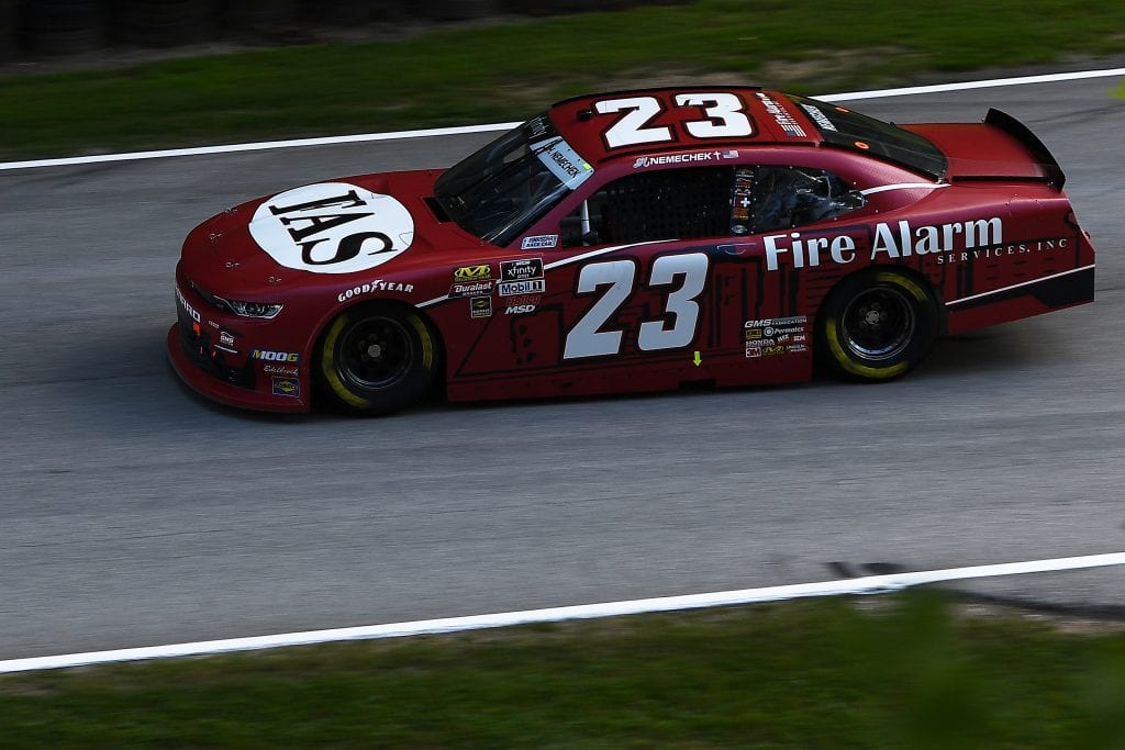 ELKHART LAKE, WISCONSIN - AUGUST 23: John Hunter Nemechek, driver of the #23 Fire Alarm Services Chevrolet, drives during practice for the NASCAR Xfinity Series CTECH Manufacturing 180 at Road America on August 23, 2019 in Elkhart Lake, Wisconsin. (Photo by Stacy Revere/Getty Images)   Getty Images