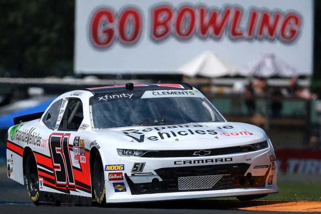 WATKINS GLEN, NEW YORK - AUGUST 02: Jeremy Clements, driver of the #51 RepairableVehicles.com Chevrolet, drives during practice for the NASCAR Xfinity Series Zippo 200 at The Glen at Watkins Glen International on August 02, 2019 in Watkins Glen, New York. (Photo by Sean Gardner/Getty Images) | Getty Images