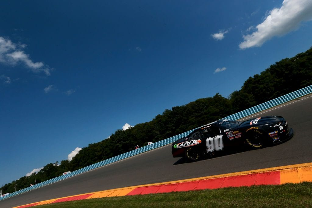 WATKINS GLEN, NEW YORK - AUGUST 02: Alex Labbe, driver of the #90 DGM Racing Chevrolet, practice for the NASCAR Xfinity Series Zippo 200 at The Glen at Watkins Glen International on August 02, 2019 in Watkins Glen, New York. (Photo by Sean Gardner/Getty Images) | Getty Images