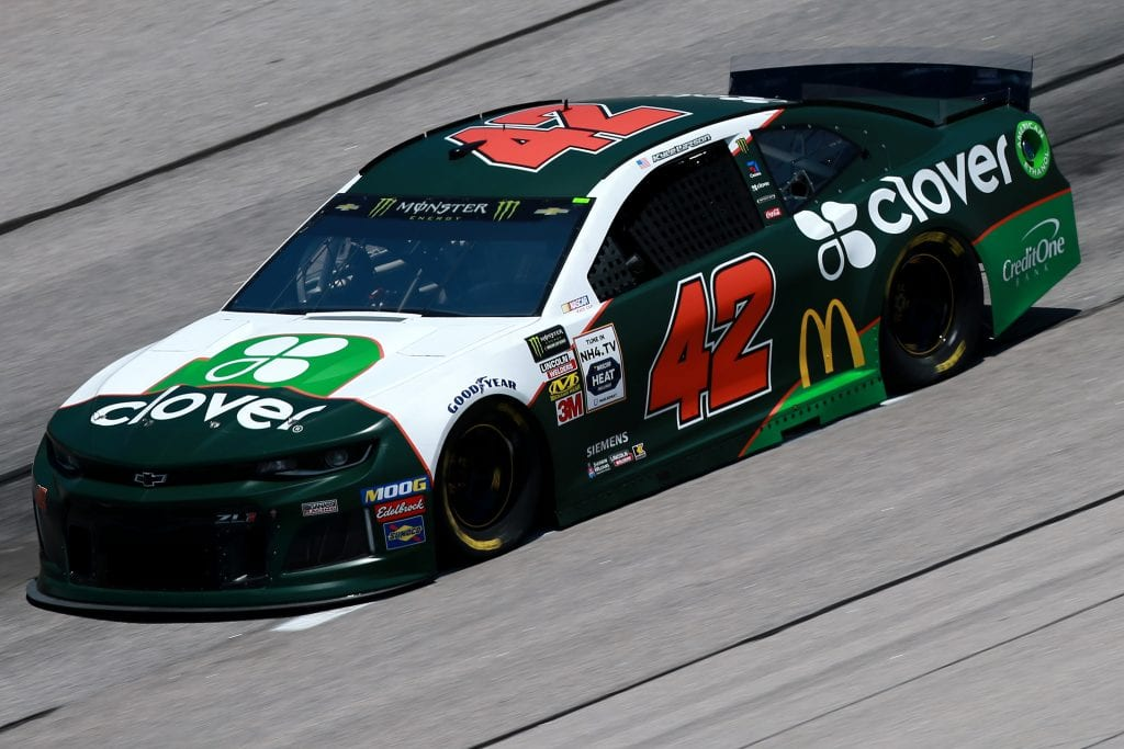 DARLINGTON, SOUTH CAROLINA - AUGUST 30: Kyle Larson, driver of the #42 Clover Chevrolet, practices for the Monster Energy NASCAR Cup Series Bojangles' Southern 500 at Darlington Raceway on August 30, 2019 in Darlington, South Carolina. (Photo by Sean Gardner/Getty Images) | Getty Images