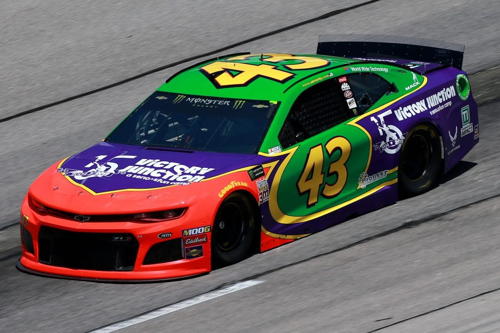 DARLINGTON, SOUTH CAROLINA - AUGUST 30: Bubba Wallace, driver of the #43 Victory Junction 15th Anniversary Chevrolet, practices for the Monster Energy NASCAR Cup Series Bojangles' Southern 500 at Darlington Raceway on August 30, 2019 in Darlington, South Carolina. (Photo by Sean Gardner/Getty Images) | Getty Images