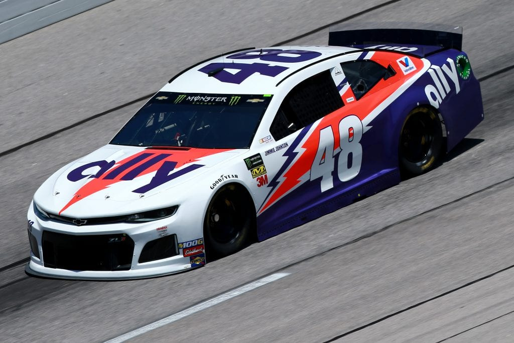 DARLINGTON, SOUTH CAROLINA - AUGUST 30: Jimmie Johnson, driver of the #48 Ally Throwback Chevrolet, practices for the Monster Energy NASCAR Cup Series Bojangles' Southern 500 at Darlington Raceway on August 30, 2019 in Darlington, South Carolina. (Photo by Sean Gardner/Getty Images) | Getty Images