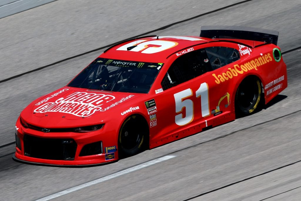 DARLINGTON, SOUTH CAROLINA - AUGUST 30: BJ McLeod, driver of the #51 JACOB Companies Chevrolet, practices for the Monster Energy NASCAR Cup Series Bojangles' Southern 500 at Darlington Raceway on August 30, 2019 in Darlington, South Carolina. (Photo by Sean Gardner/Getty Images) | Getty Images