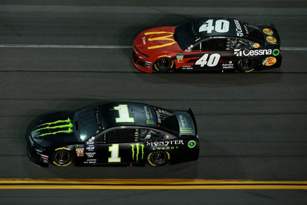 DAYTONA BEACH, FL - FEBRUARY 14: Kurt Busch, driver of the #1 Monster Energy Chevrolet, races Jamie McMurray, driver of the #40 McDonald's/Cessna/Bass Pro Shops Chevrolet, during the Monster Energy NASCAR Cup Series Gander RV Duel At DAYTONA #1 at Daytona International Speedway on February 14, 2019 in Daytona Beach, Florida. (Photo by Sean Gardner/Getty Images) | Getty Images