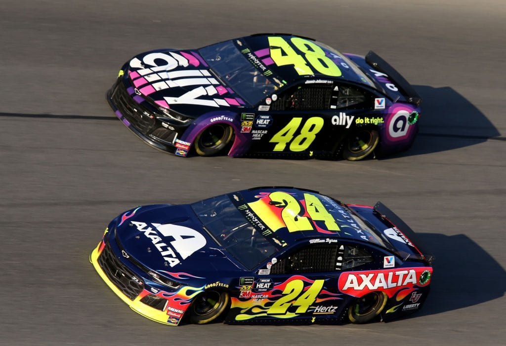 DAYTONA BEACH, FL - FEBRUARY 17:  Jimmie Johnson, driver of the #48 Ally Chevrolet, races William Byron, driver of the #24 Axalta Chevrolet, during the Monster Energy NASCAR Cup Series 61st Annual Daytona 500 at Daytona International Speedway on February 17, 2019 in Daytona Beach, Florida.  (Photo by Jerry Markland/Getty Images) | Getty Images