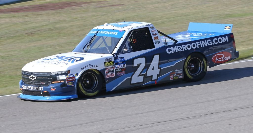 BOWMANVILLE, ON - AUGUST 25: Brett Moffitt #24 driving the CMR Construction & Roofing Chevrolet qualifies on the pole for the Chevrolet Silverado 250 Gander Nascar Outdoor Truck Series event at Canadian Tire Motorsport Park on August 25, 2019 in Bowmanville, Ontario, Canada. (Photo by Claus Andersen/Getty Images)   Getty Images