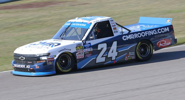 BOWMANVILLE, ON - AUGUST 25:  Brett Moffitt #24 driving the CMR Construction & Roofing Chevrolet qualifies on the pole for the Chevrolet Silverado 250 Gander Nascar Outdoor Truck Series event at Canadian Tire Motorsport Park on August 25, 2019 in Bowmanville, Ontario, Canada. (Photo by Claus Andersen/Getty Images) | Getty Images