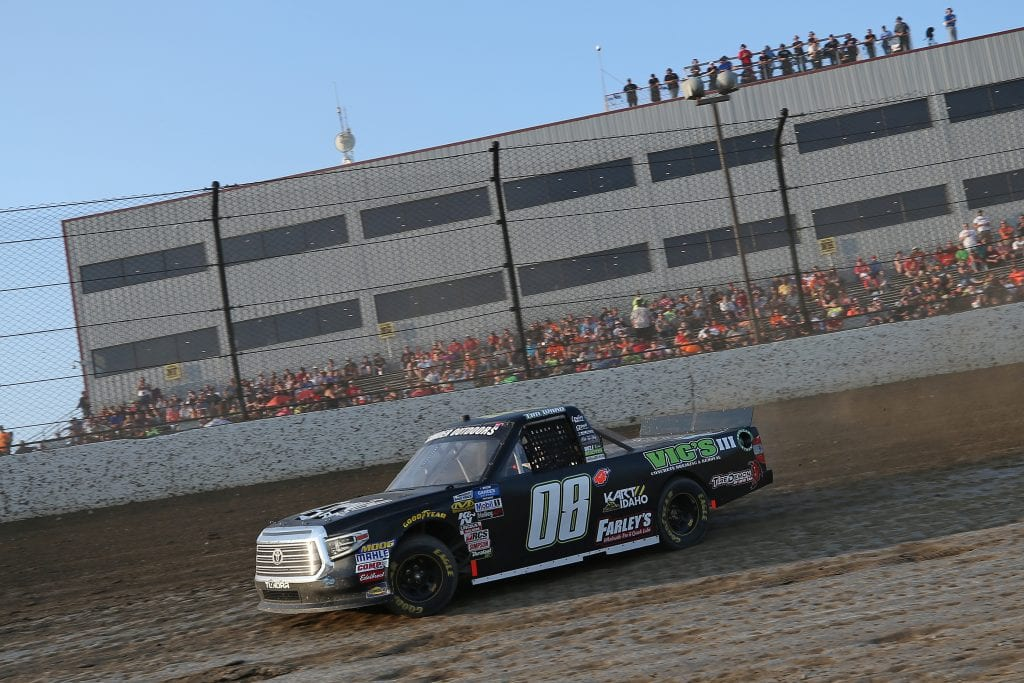 ROSSBURG, OHIO - AUGUST 01: Tim Ward, driver of the #08 Country AF Radio Toyota, drives during a qualifying race for the NASCAR Gander Outdoor Truck Series Eldora Dirt Derby at Eldora Speedway on August 01, 2019 in Rossburg, Ohio. (Photo by Matt Sullivan/Getty Images) | Getty Images