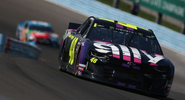 WATKINS GLEN, NEW YORK - AUGUST 04: Jimmie Johnson, driver of the #48 Ally Chevrolet, leads a pack of cars during the Monster Energy NASCAR Cup Series Go Bowling at The Glen at Watkins Glen International on August 04, 2019 in Watkins Glen, New York. (Photo by Brian Lawdermilk/Getty Images)   Getty Images