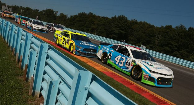 WATKINS GLEN, NEW YORK - AUGUST 04: Bubba Wallace, driver of the #43 Victory Junction Chevrolet, leads a pack of cars during the Monster Energy NASCAR Cup Series Go Bowling at The Glen at Watkins Glen International on August 04, 2019 in Watkins Glen, New York. (Photo by Sean Gardner/Getty Images) | Getty Images