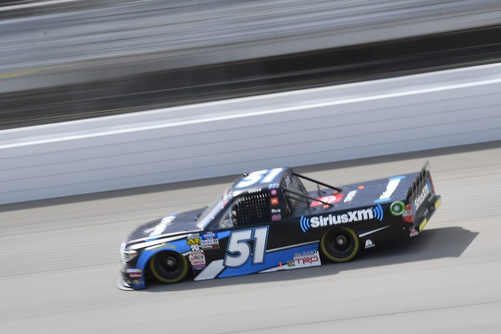 BROOKLYN, MICHIGAN - AUGUST 09: Cody Ware, driver of the #51 JACOB COMPANIES Ford, drives during practice for the NASCAR Gander Outdoor Truck Series Corrigan Oil 200 at Michigan International Speedway on August 09, 2019 in Brooklyn, Michigan. (Photo by Quinn Harris/Getty Images) | Getty Images