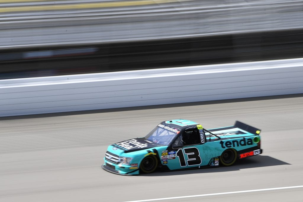 BROOKLYN, MICHIGAN - AUGUST 09: Johnny Sauter, driver of the #13 Tenda Heal Ford, drives during practice for the NASCAR Gander Outdoor Truck Series Corrigan Oil 200 at Michigan International Speedway on August 09, 2019 in Brooklyn, Michigan. (Photo by Quinn Harris/Getty Images) | Getty Images