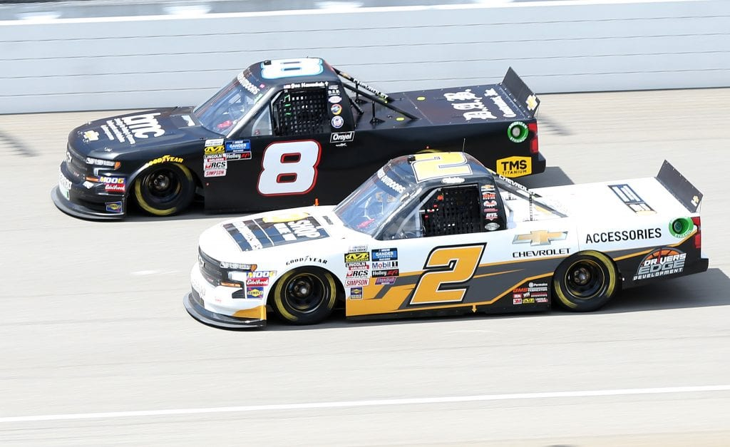 BROOKLYN, MICHIGAN - AUGUST 10: Sheldon Creed, driver of the #2 Chevrolet Accessories Chevrolet, and Joe Nemechek, driver of the #8 Business Machines Company Chevrolet, race during the NASCAR Gander Outdoor Truck Series Corrigan Oil 200 at Michigan International Speedway on August 10, 2019 in Brooklyn, Michigan. (Photo by Matt Sullivan/Getty Images) | Getty Images
