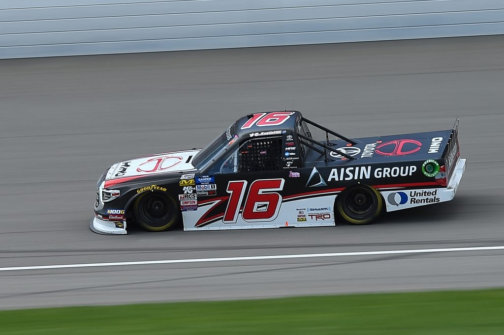 BROOKLYN, MICHIGAN - AUGUST 10: Austin Hill, driver of the #16 Hino/AISIN Group Toyota, races during the NASCAR Gander Outdoor Truck Series Corrigan Oil 200 at Michigan International Speedway on August 10, 2019 in Brooklyn, Michigan. (Photo by Stacy Revere/Getty Images) | Getty Images