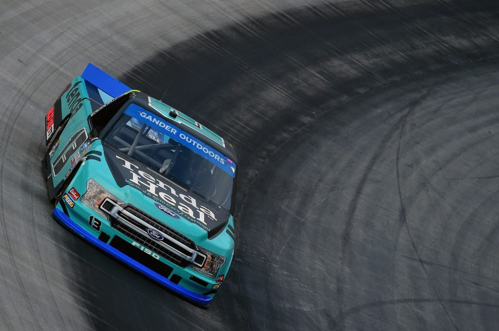 BRISTOL, TENNESSEE - AUGUST 15: Johnny Sauter, driver of the #13 Tenda Heal Ford, practices for the NASCAR Gander Outdoor Truck Series UNOH 200 presented by Ohio Logistics at Bristol Motor Speedway on August 15, 2019 in Bristol, Tennessee. (Photo by Jared C. Tilton/Getty Images) | Getty Images