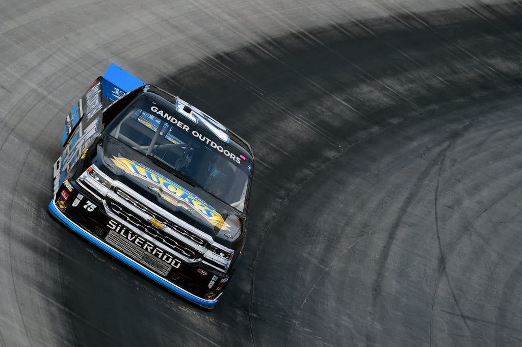 BRISTOL, TENNESSEE - AUGUST 15: Parker Kligerman, driver of the #75 Food Country USA Chevrolet, practices for the NASCAR Gander Outdoor Truck Series UNOH 200 presented by Ohio Logistics at Bristol Motor Speedway on August 15, 2019 in Bristol, Tennessee. (Photo by Jared C. Tilton/Getty Images) | Getty Images