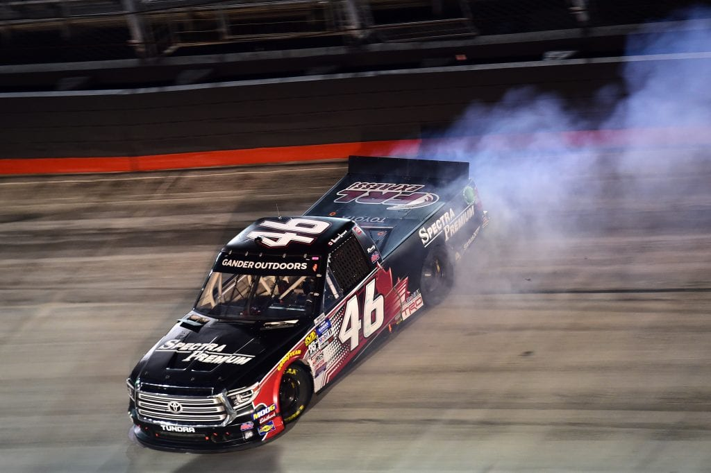 BRISTOL, TENNESSEE - AUGUST 15: Raphael Lessard, driver of the #46 Spectra Premium Toyota, is involved in an on-track incident during the NASCAR Gander Outdoor Truck Series UNOH 200 presented by Ohio Logistics at Bristol Motor Speedway on August 15, 2019 in Bristol, Tennessee. (Photo by Jared C. Tilton/Getty Images) | Getty Images