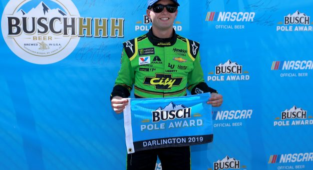 DARLINGTON, SOUTH CAROLINA - AUGUST 31: William Byron, driver of the #24 HendrickAutoguard/CityChvrltThrwbck Chev, celebrates with the pole award after qualifying for the Monster Energy NASCAR Cup Series Bojangles' Southern 500 at Darlington Raceway on August 31, 2019 in Darlington, South Carolina. (Photo by Sean Gardner/Getty Images) | Getty Images