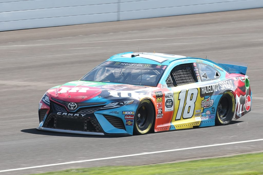 INDIANAPOLIS, INDIANA - SEPTEMBER 07: Kyle Busch, driver of the #18 M&M's Toyota, drives during practice for the Monster Energy NASCAR Cup Series Big Machine Vodka 400 at Indianapolis Motor Speedway on September 07, 2019 in Indianapolis, Indiana. (Photo by Matt Sullivan/Getty Images) | Getty Images