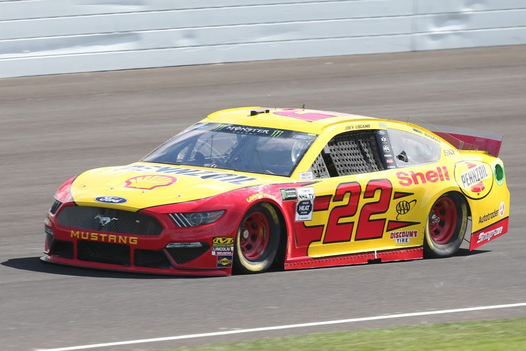 INDIANAPOLIS, INDIANA - SEPTEMBER 07: Joey Logano, driver of the #22 Shell Pennzoil Ford, drives during practice for the Monster Energy NASCAR Cup Series Big Machine Vodka 400 at Indianapolis Motor Speedway on September 07, 2019 in Indianapolis, Indiana. (Photo by Matt Sullivan/Getty Images) | Getty Images