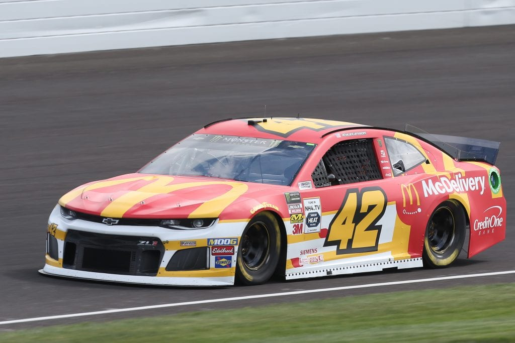 INDIANAPOLIS, INDIANA - SEPTEMBER 07: Kyle Larson, driver of the #42 McDonald's Chevrolet, drives during practice for the Monster Energy NASCAR Cup Series Big Machine Vodka 400 at Indianapolis Motor Speedway on September 07, 2019 in Indianapolis, Indiana. (Photo by Matt Sullivan/Getty Images) | Getty Images