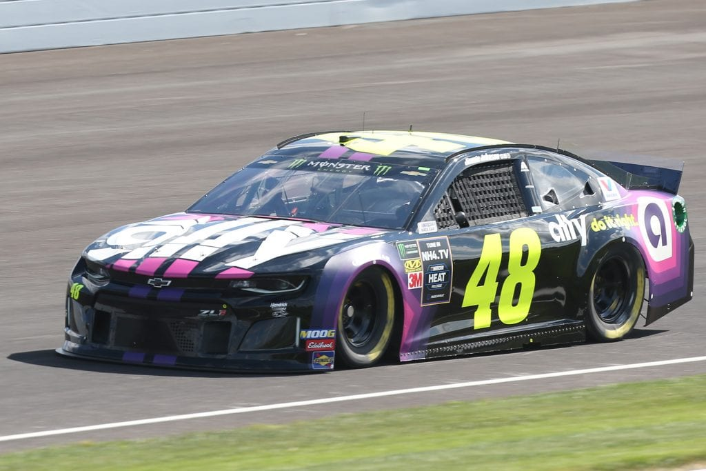 INDIANAPOLIS, INDIANA - SEPTEMBER 07: Jimmie Johnson, driver of the #48 Ally Chevrolet, drives during practice for the Monster Energy NASCAR Cup Series Big Machine Vodka 400 at Indianapolis Motor Speedway on September 07, 2019 in Indianapolis, Indiana. (Photo by Matt Sullivan/Getty Images) | Getty Images