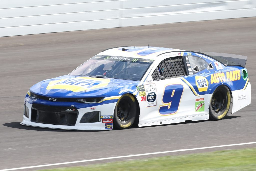 INDIANAPOLIS, INDIANA - SEPTEMBER 07: Chase Elliott, driver of the #9 NAPA AUTO PARTS Chevrolet, drives during practice for the Monster Energy NASCAR Cup Series Big Machine Vodka 400 at Indianapolis Motor Speedway on September 07, 2019 in Indianapolis, Indiana. (Photo by Matt Sullivan/Getty Images) | Getty Images