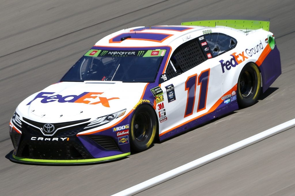 LAS VEGAS, NEVADA - SEPTEMBER 13: Denny Hamlin, driver of the #11 FedEx Ground Toyota, drives during practice for the Monster Energy NASCAR Cup Series South Point 400 at Las Vegas Motor Speedway on September 13, 2019 in Las Vegas, Nevada. (Photo by Jonathan Ferrey/Getty Images) | Getty Images