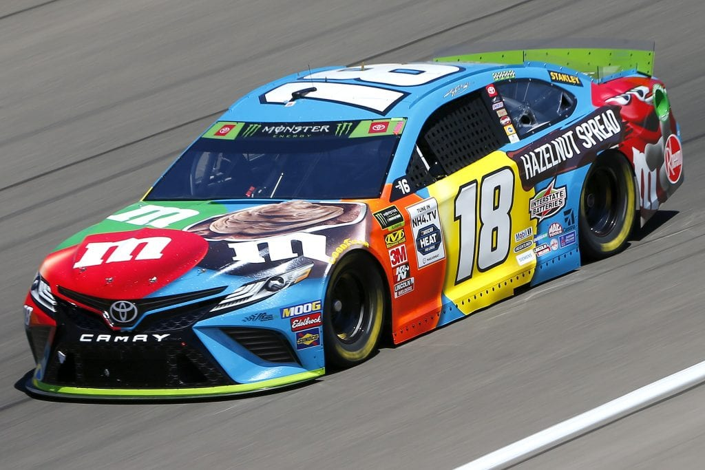 LAS VEGAS, NEVADA - SEPTEMBER 13: Kyle Busch, driver of the #18 M&M's Hazelnut Toyota, drives during practice for the Monster Energy NASCAR Cup Series South Point 400 at Las Vegas Motor Speedway on September 13, 2019 in Las Vegas, Nevada. (Photo by Jonathan Ferrey/Getty Images) | Getty Images