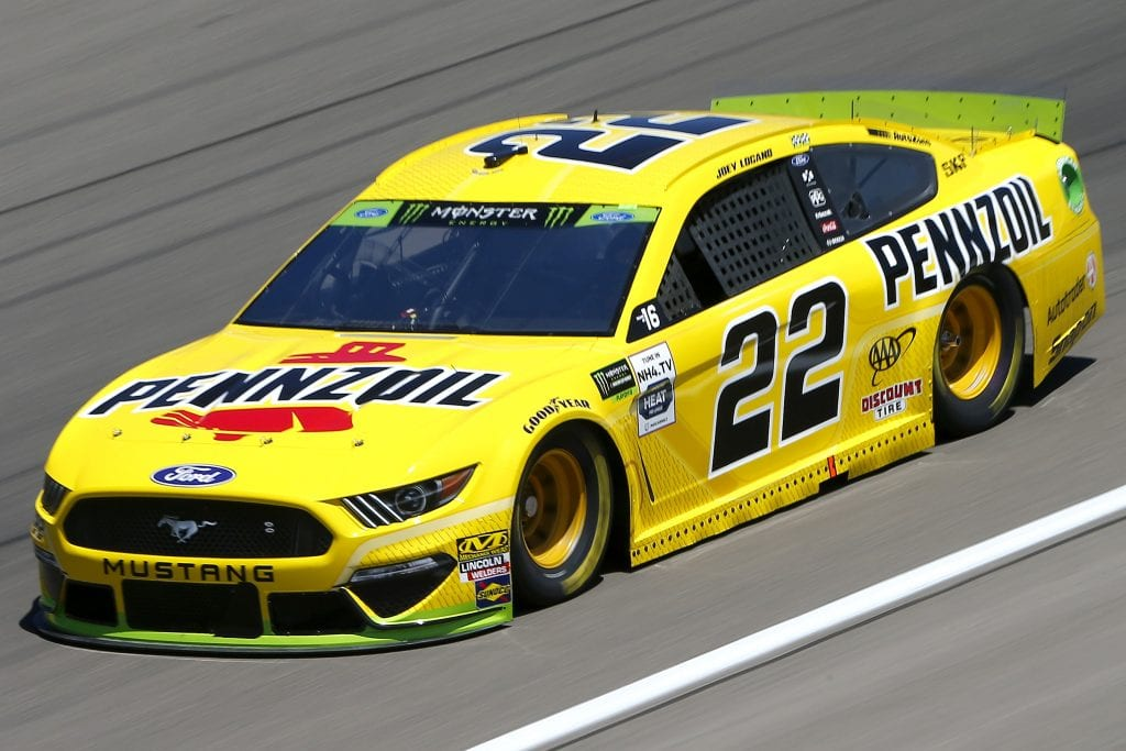 LAS VEGAS, NEVADA - SEPTEMBER 13: Joey Logano, driver of the #22 Pennzoil Ford, drives during practice for the Monster Energy NASCAR Cup Series South Point 400 at Las Vegas Motor Speedway on September 13, 2019 in Las Vegas, Nevada. (Photo by Jonathan Ferrey/Getty Images) | Getty Images