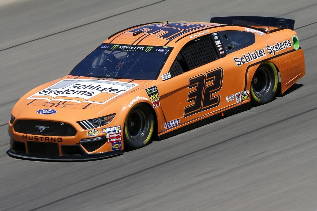 LAS VEGAS, NEVADA - SEPTEMBER 13: Corey LaJoie, driver of the #32 Schluter Systems Ford, drives during practice for the Monster Energy NASCAR Cup Series South Point 400 at Las Vegas Motor Speedway on September 13, 2019 in Las Vegas, Nevada. (Photo by Jonathan Ferrey/Getty Images) | Getty Images