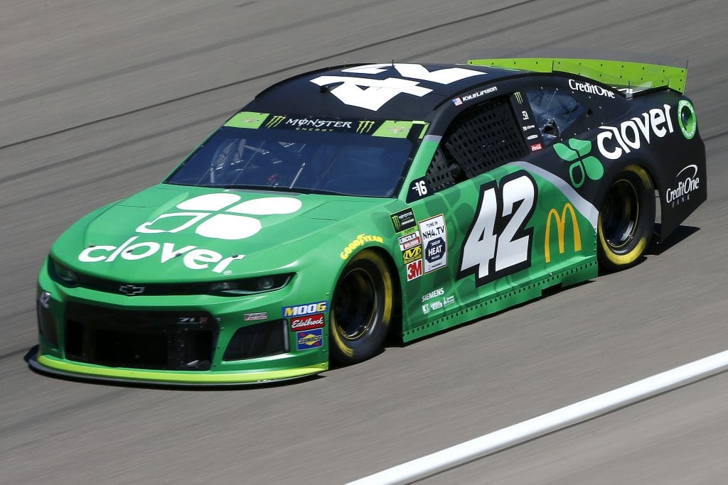 LAS VEGAS, NEVADA - SEPTEMBER 13: Kyle Larson, driver of the #42 Clover Chevrolet, drives during practice for the Monster Energy NASCAR Cup Series South Point 400 at Las Vegas Motor Speedway on September 13, 2019 in Las Vegas, Nevada. (Photo by Jonathan Ferrey/Getty Images) | Getty Images