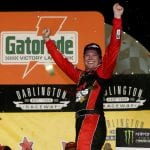 DARLINGTON, SOUTH CAROLINA - SEPTEMBER 02: Erik Jones, driver of the #20 Sport Clips Throwback Toyota, celebrates in Victory Lane after winning the Monster Energy NASCAR Cup Series Bojangles' Southern 500 at Darlington Raceway on September 02, 2019 in Darlington, South Carolina. (Photo by Brian Lawdermilk/Getty Images) | Getty Images