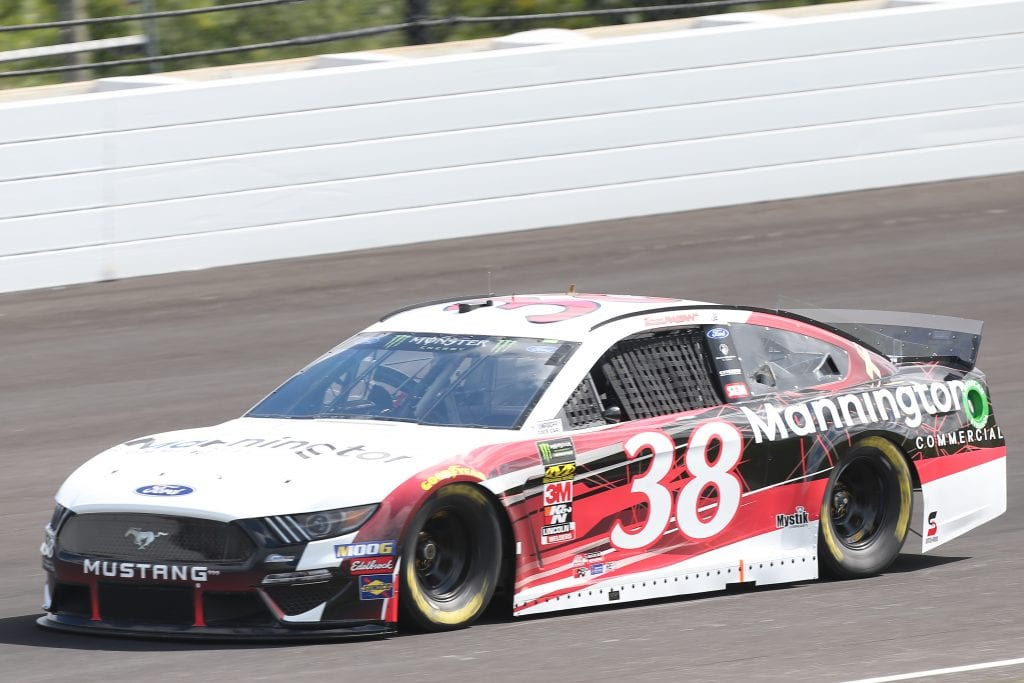 INDIANAPOLIS, INDIANA - SEPTEMBER 07: David Ragan, driver of the #38 Mannington Commercial Ford, drives during practice for the Monster Energy NASCAR Cup Series Big Machine Vodka 400 at Indianapolis Motor Speedway on September 07, 2019 in Indianapolis, Indiana. (Photo by Matt Sullivan/Getty Images) | Getty Images