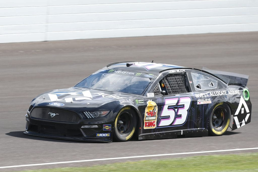 INDIANAPOLIS, INDIANA - SEPTEMBER 07: Josh Bilicki, driver of the #53 AQRE.app Ford, drives during practice for the Monster Energy NASCAR Cup Series Big Machine Vodka 400 at Indianapolis Motor Speedway on September 07, 2019 in Indianapolis, Indiana. (Photo by Matt Sullivan/Getty Images)   Getty Images