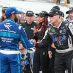 INDIANAPOLIS, INDIANA - SEPTEMBER 08: Kevin Harvick, driver of the #4 Mobil 1 Ford, shakes hands with Bubba Wallace, driver of the #43 World Wide Technology Chevrolet, after winning the Monster Energy NASCAR Cup Series Big Machine Vodka 400 at the Brickyard at Indianapolis Motor Speedway on September 08, 2019 in Indianapolis, Indiana. (Photo by Matt Sullivan/Getty Images) | Getty Images
