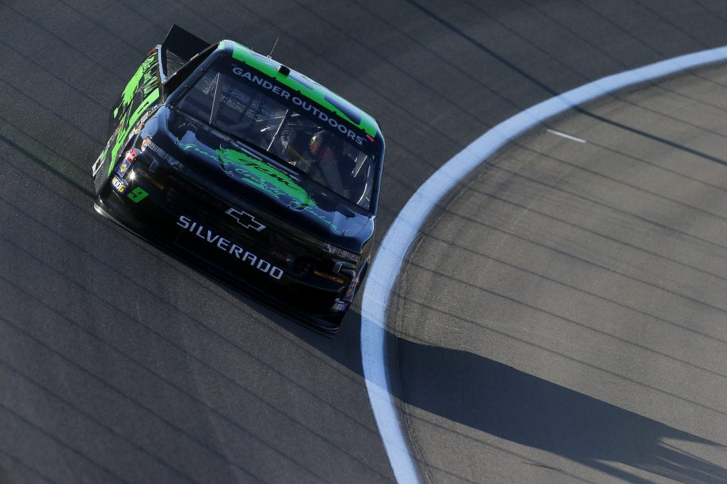 LAS VEGAS, NEVADA - SEPTEMBER 13: Codie Rohrbaugh, driver of the #9 Grant County Mulch Chevrolet, drives during practice for the NASCAR Gander Outdoor Truck Series World of Westgate Las Vegas 200 at Las Vegas Motor Speedway on September 13, 2019 in Las Vegas, Nevada. (Photo by Jonathan Ferrey/Getty Images) | Getty Images