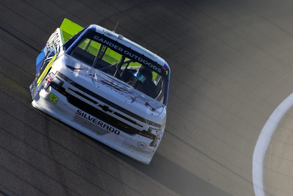 LAS VEGAS, NEVADA - SEPTEMBER 13: Tyler Dippel, driver of the #02 LobasProductions Chevrolet, drives during practice for the NASCAR Gander Outdoor Truck Series World of Westgate Las Vegas 200 at Las Vegas Motor Speedway on September 13, 2019 in Las Vegas, Nevada. (Photo by Jonathan Ferrey/Getty Images) | Getty Images