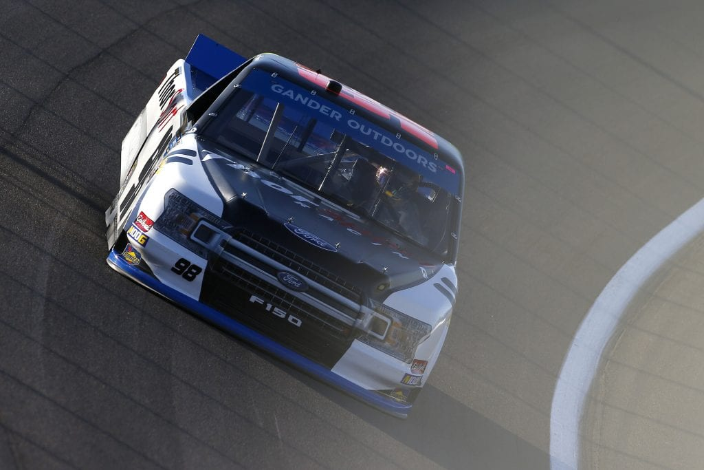 LAS VEGAS, NEVADA - SEPTEMBER 13: Grant Enfinger, driver of the #98 ThorSport Racing/Curb Records Ford, drives during practice for the NASCAR Gander Outdoor Truck Series World of Westgate Las Vegas 200 at Las Vegas Motor Speedway on September 13, 2019 in Las Vegas, Nevada. (Photo by Jonathan Ferrey/Getty Images) | Getty Images