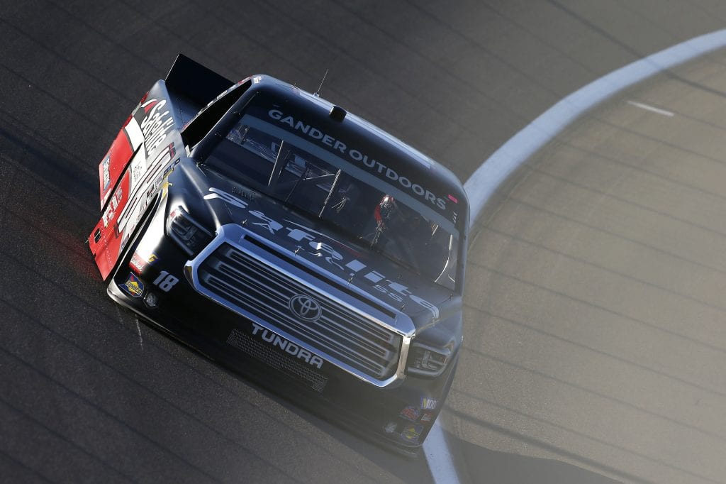 LAS VEGAS, NEVADA - SEPTEMBER 13: Harrison Burton, driver of the #18 Safelite AutoGlass Toyota, drives during practice for the NASCAR Gander Outdoor Truck Series World of Westgate Las Vegas 200 at Las Vegas Motor Speedway on September 13, 2019 in Las Vegas, Nevada. (Photo by Jonathan Ferrey/Getty Images) | Getty Images