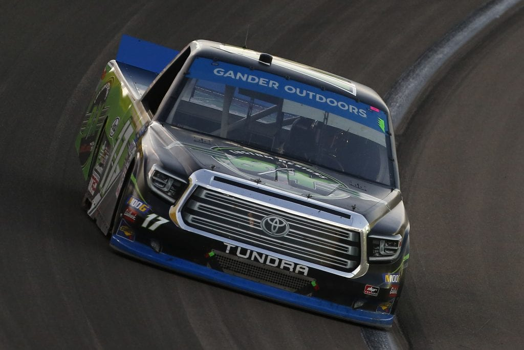 LAS VEGAS, NEVADA - SEPTEMBER 13: Tyler Ankrum, driver of the #17 B/X Custom Designs Toyota, races during the NASCAR Gander Outdoor Truck Series World of Westgate Las Vegas 200 at Las Vegas Motor Speedway on September 13, 2019 in Las Vegas, Nevada. (Photo by Jonathan Ferrey/Getty Images) | Getty Images