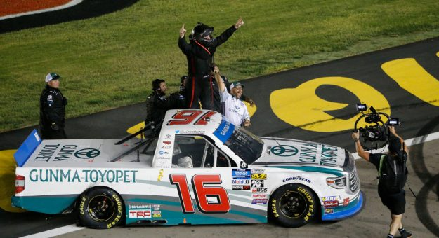 LAS VEGAS, NEVADA - SEPTEMBER 13: Austin Hill, driver of the #16 Gunma Toyopet Toyota, celebrates after winning the NASCAR Gander Outdoor Truck Series World of Westgate Las Vegas 200 at Las Vegas Motor Speedway on September 13, 2019 in Las Vegas, Nevada. (Photo by Jonathan Ferrey/Getty Images) | Getty Images