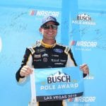 LAS VEGAS, NEVADA - SEPTEMBER 14: Clint Bowyer, driver of the #14 Toco Warranty Ford, poses with the pole award after qualifying for the Monster Energy NASCAR Cup Series South Point 400 at Las Vegas Motor Speedway on September 14, 2019 in Las Vegas, Nevada. (Photo by Matt Sullivan/Getty Images) | Getty Images