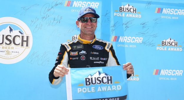 LAS VEGAS, NEVADA - SEPTEMBER 14: Clint Bowyer, driver of the #14 Toco Warranty Ford, poses with the pole award after qualifying for the Monster Energy NASCAR Cup Series South Point 400 at Las Vegas Motor Speedway on September 14, 2019 in Las Vegas, Nevada. (Photo by Matt Sullivan/Getty Images)   Getty Images