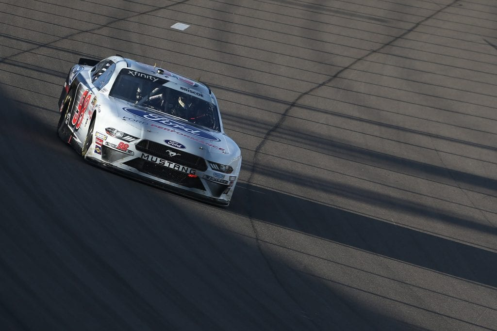 LAS VEGAS, NEVADA - SEPTEMBER 14: Chase Briscoe, driver of the #98 Ford Performance Ford, during the NASCAR Xfinity Series Rhino Pro Trucks Outfitters 300 at Las Vegas Motor Speedway on September 14, 2019 in Las Vegas, Nevada. (Photo by Matt Sullivan/Getty Images) | Getty Images