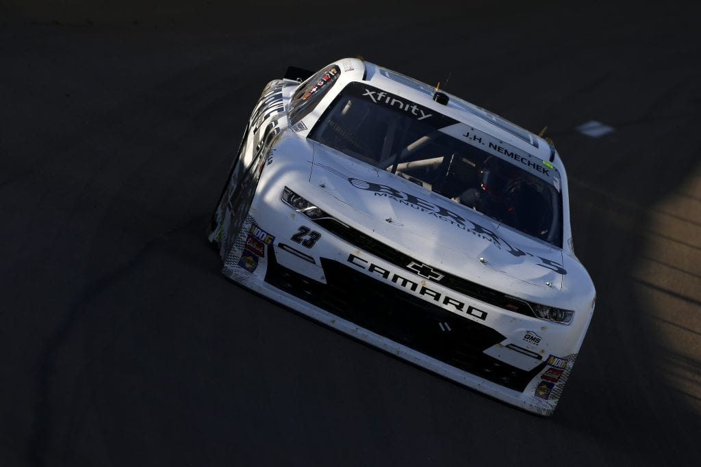 LAS VEGAS, NEVADA - SEPTEMBER 14: John Hunter Nemechek, driver of the #23 Berry's Manufacturing Chevrolet, drives during the NASCAR Xfinity Series Rhino Pro Trucks Outfitters 300 at Las Vegas Motor Speedway on September 14, 2019 in Las Vegas, Nevada. (Photo by Jonathan Ferrey/Getty Images)   Getty Images